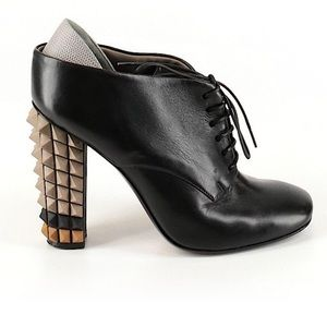 "FENDI ""POLIFONIA"" SPIKED LEATHER BOOTIE Size 8"